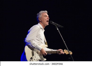 BUDAPEST-JULY 16: David Byrne perform on stage at Millenaris July 16, 2009 in Budapest, Hungary