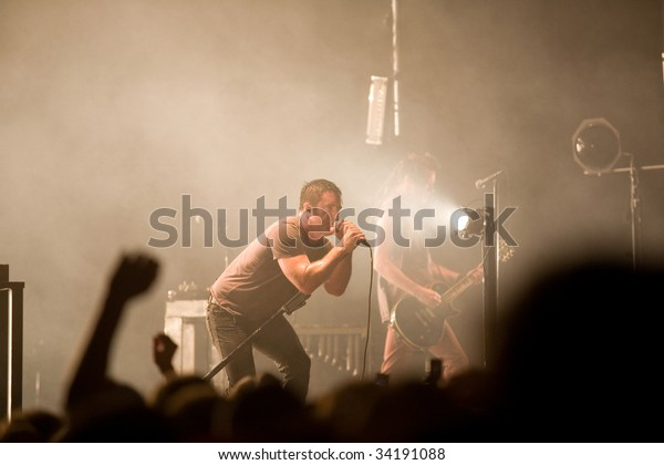BUDAPEST-JULY 24: Nine Inch Nails band performs on stage at SYMA Sport and Event Centre stage July 24, 2009 in Hungary