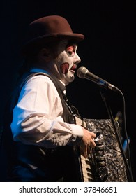 BUDAPEST-SEPTEMBER 26: A member of The Tiger Lillies during performance on the stage at Trafo Sept 26, 2009 in Budapest, Hungary