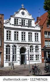 Lübeck Buddenbrookhaus in the Meng Strasse opposite St. Marien
