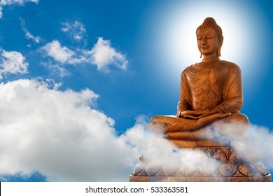 Buddha and blue sky background