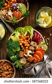 Buddha bowl of mixed vegetables, healthy and nutritious vegan meal, top view