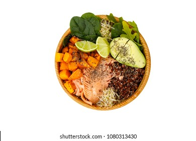 Buddha Bowl, salmon, sweet potatoes, red quinoa, vegetables, sprouts, avocado, baby spinach, chia seeds, lime in wooden bawls, isolated on white, top view