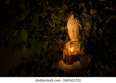 Buddha candle fire in nature