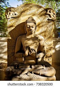 Buddha carved from stone.
