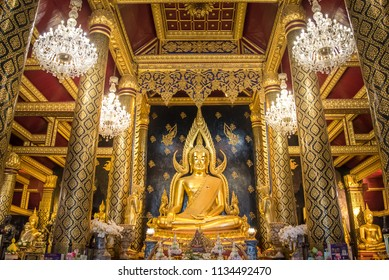 Buddha Chinnarat Phitsanulok / Thailand Buddha Shrine, one of the finest statues in Thailand at Wat Phra Sri Rattana Mahathat. Phitsanulok Province