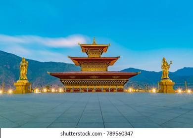 Buddha Dordenma statue in the heart of Thimpu, Bhutan. The evening sky makes the vibrant architecture of Bhutan more interesting.