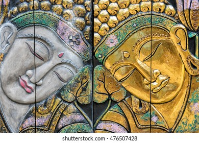 Buddha face close up detail in Bali indonesia