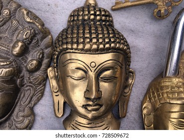 Buddha face of Copper metal