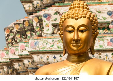 Buddha face in the Grand Palace of Bangkok, Thailand. South East Asia.