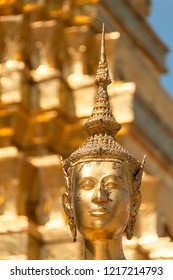 Buddha face at the Grand Palace in Bangkok. Kingdom of Thailand. South East Asia.