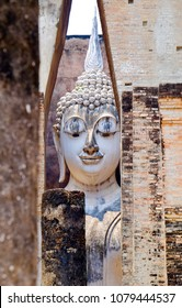 Buddha face at Srichum Temple, Sukhothai  in Thailand