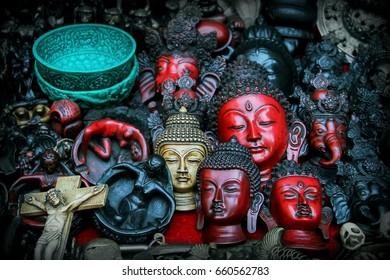 A lot of Buddha figurines in a souvenir shop. Kathmandu. Nepal.