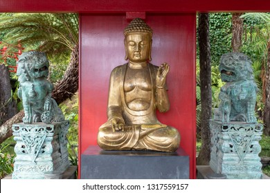 buddha and the golden demons - tropical chinese garden madeira island Portugal