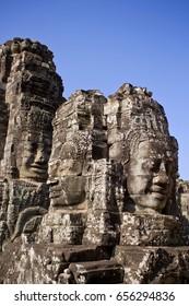 Buddha head towers in Bayon Temple, Cambodia.