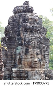 The Buddha heads on Angkor Thom capital, Angkor Archeological Park, Siem Reap, Cambodia.