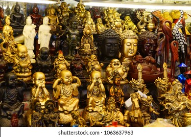 Buddha heads and other objects for sale at the Ben Thanh market, Saigon (Ho Chi Minh City),  Vietnam