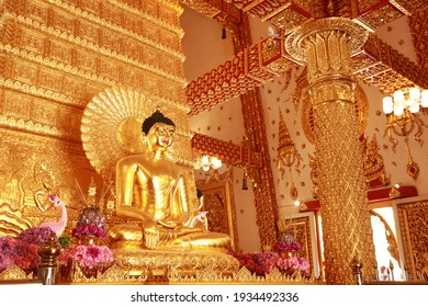 The Buddha image is a Buddhist art at a Buddhist temple in Thailand.