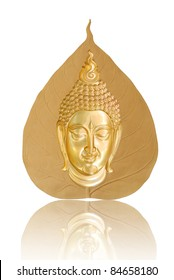 Buddha image front sitting on a gold leaf