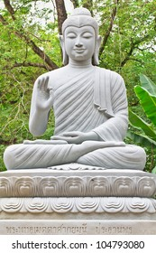 the buddha image in garden wood