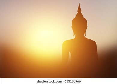 Buddha image With light transmitted from behind