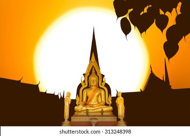 Buddha image on the temple sunset in Thailand