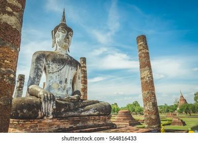 Buddha image in Sukhothai Historical Park, Thailand.