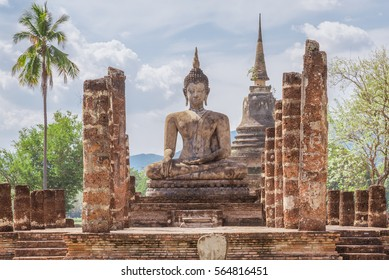 Buddha image in Sukhothai Historical Park, Thailand.