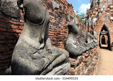Buddha image ,Wat Chaiwatthanaram ,Ayutthaya Historical Park ,Thailand ,world heritage. Thai temple ,ancient architecture ,ancient sculpture.