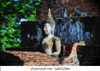 Buddha image at Wat Mahathat Sukhothai Thailand