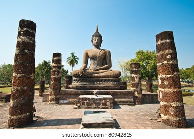 Buddha image in Wat Mahathat at Sukhothai Historical Park, Thailand