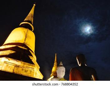 Buddha image in Wat Yai Chai Mongkhon ancient temple in Thailand