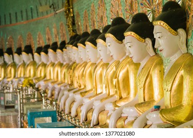 Buddha images at U Min Thonze Cave Temple at Sagaing Hill. The temple houses 45 buddha images, standing for Buddha's 45 years of active preaching.
