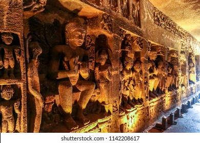Buddha life scenes at Ajanta Caves, famous cave temple complex in Aurangabad, Maharashtra, India, Asia