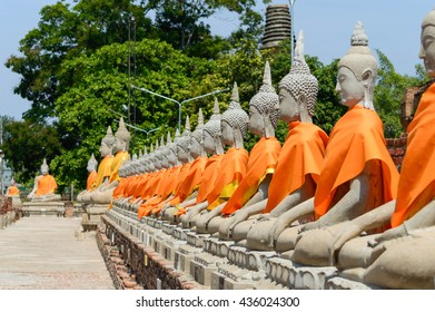 Buddha lined at Chaimongkol temple (or Chaimongkhon) People in Thailand called Wat Yai Chaimongkol In Ayutthaya, Thailand