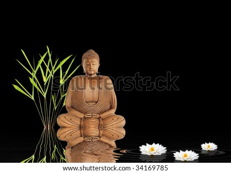 Buddha In Meditation In Abstract Zen Garden With Bamboo Leaf Grass, White  Lotus Lily Flower