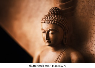 Buddha in a meditation pose, under protection of the king of nag - Mukalinda. Figure isolated on a black background.