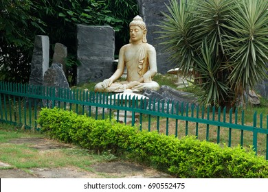 Buddha meditation statue at Japanese garden Chandigarh India