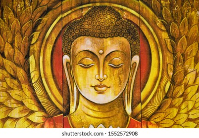 Buddha meditation textured  wooden painting