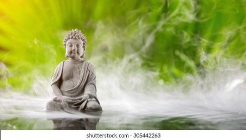 Buddha in meditation in water