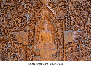 Buddha, native Thai style wood carving