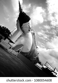 Buddha in nobility sleeps in black and white images make it look magical. Buddhist art at Wat Than dieaw, Ayutthaya Province, Thailand on April 30, 2018.