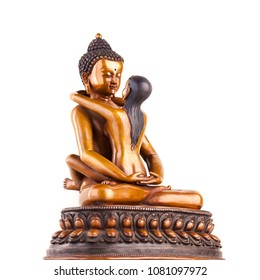 Buddha Samantabhadra - Buddha of Dharmakaya in the union with the all-good spouse of Samantabkhadri in a pose similar to a Kama Sutra. Symbol of indissoluble unity of pleasure and emptiness.