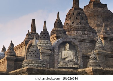 Buddha sculpture in budhist temple Brahma Vihara-Arama Banjar Bali, Indonesia, small version of Borobudur temple on Java