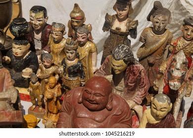Buddha, spirit nats  for sale in central market, Shwedagon Pagoda Yangon (Rangoon),  Myanmar (Burma)