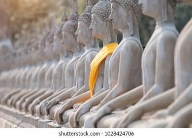 Buddha state in Ayuthaya temple thailand