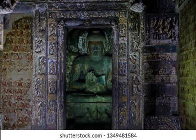 Buddha statue in Ajanta caves, India. The Ajanta in Maharashtra state are Buddhist caves monuments.