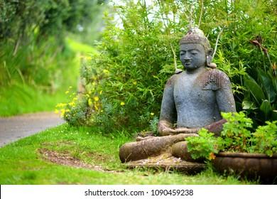 Buddha statue at the Alii Kula Lavender Farm on Maui, Hawaii, USA