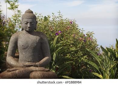 A buddha statue at the Alii Kula Lavender Farm in upcountry Maui, Hawaii