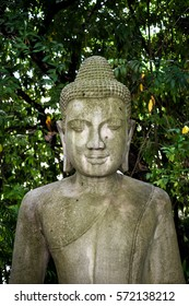 Buddha statue among nature  at Kilassa Mountain Royal palace. Phnom Penh , Cambodia
